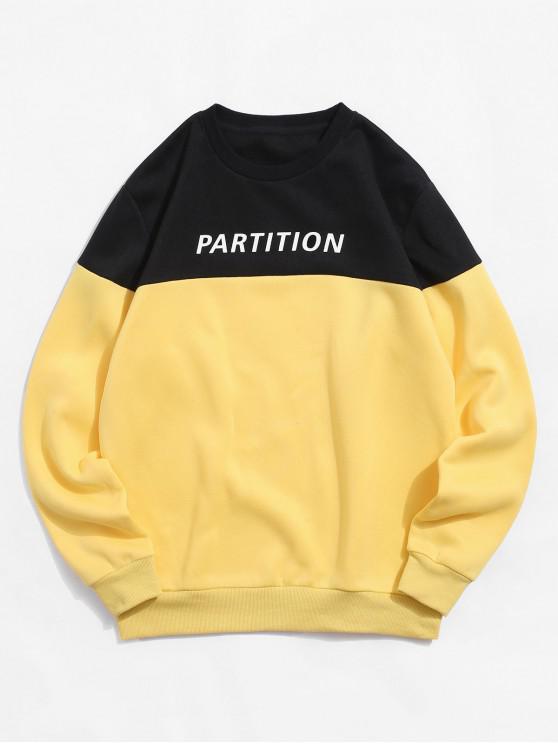 trendy ZAFUL Letter Printed Colorblock Casual Sweatshirt - BRIGHT YELLOW M