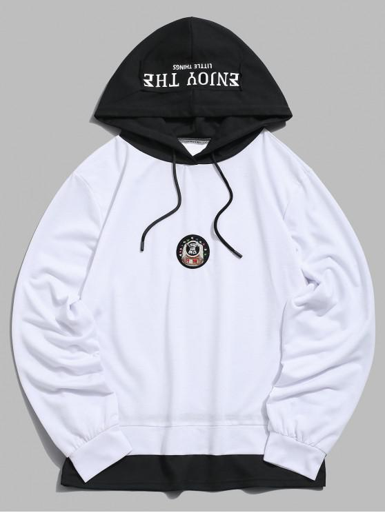 affordable Letter Pattern Embroidered Casual Hoodie - WHITE M