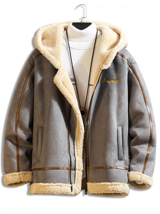 chic Letter Embroidery Fluffy Hooded Teddy Jacket - BATTLESHIP GRAY 3XL