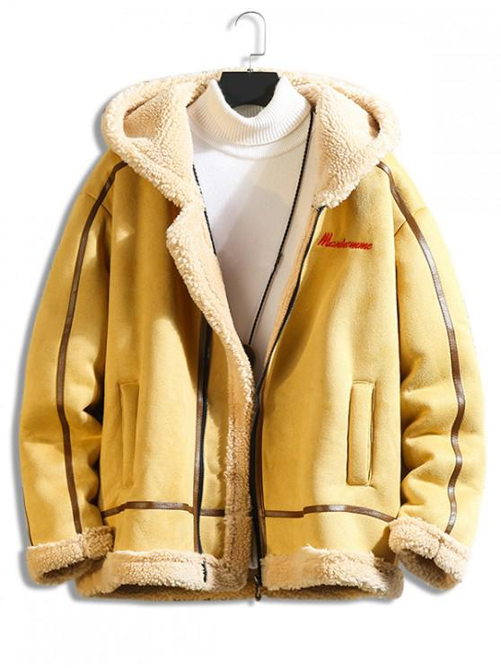 new Letter Embroidery Fluffy Hooded Teddy Jacket - BEE YELLOW L