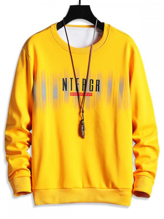 fancy Letter Print Fleece Crew Neck Sweatshirt - YELLOW S