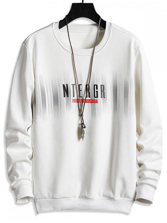 womens Letter Print Fleece Crew Neck Sweatshirt - MILK WHITE S