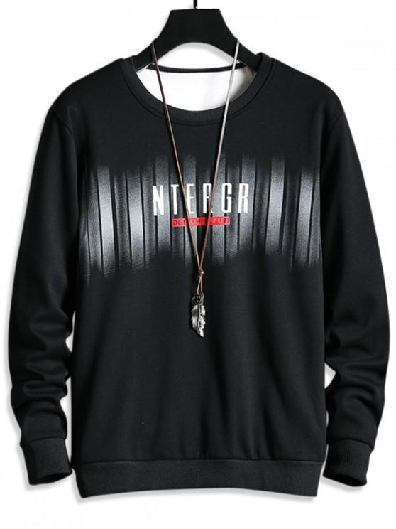 best Letter Print Fleece Crew Neck Sweatshirt - BLACK S