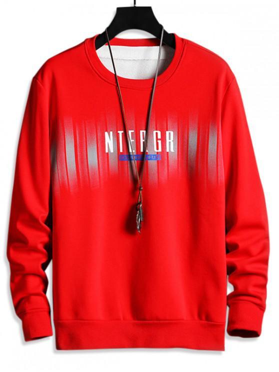 buy Letter Print Fleece Crew Neck Sweatshirt - RED XS