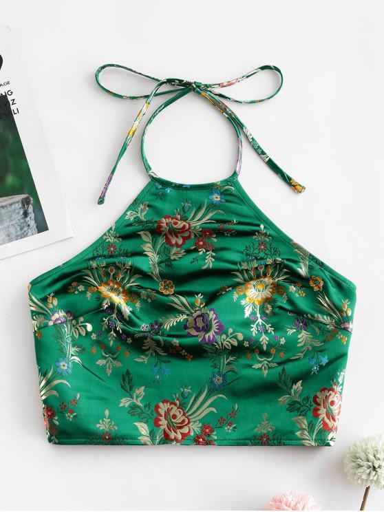online ZAFUL Oriental Smocked Back Halter Floral Jacquard Crop Top - GREEN XL