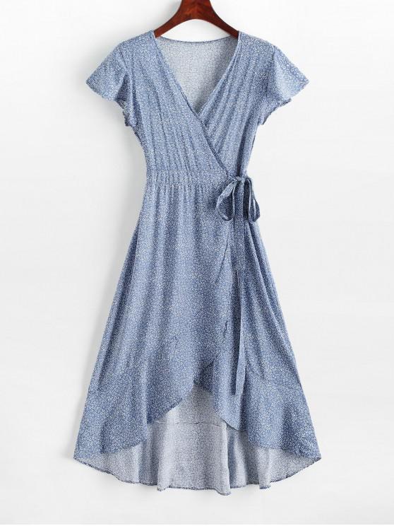 best Ditsy Print Ruffle Hem Midi Wrap Dress - BLUE S