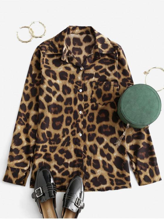 Рубашка С леопардовым принтом Карман На пуговицах - Многоцветный-A M