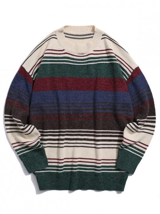 Повседневный Свитер Красочный полосатый принт - Многоцветный L