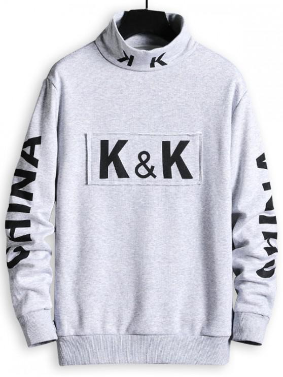 shop China Letter Print Patchwork Mock Neck Sweatshirt - MILK WHITE S