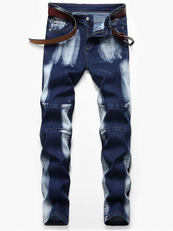 hot Casual Style Zipper Fly Faded Jeans - DEEP BLUE 42