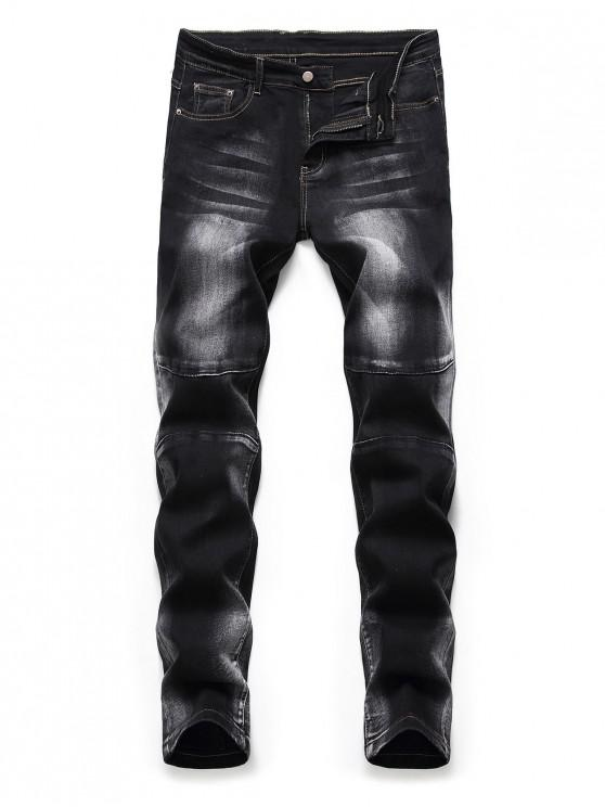 trendy Casual Print Zipper Fly Jeans - BLACK 42