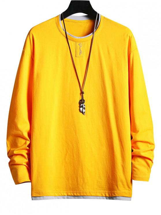 trendy Letter Pattern Faux Two Pieces Casual T-shirt - YELLOW 2XL