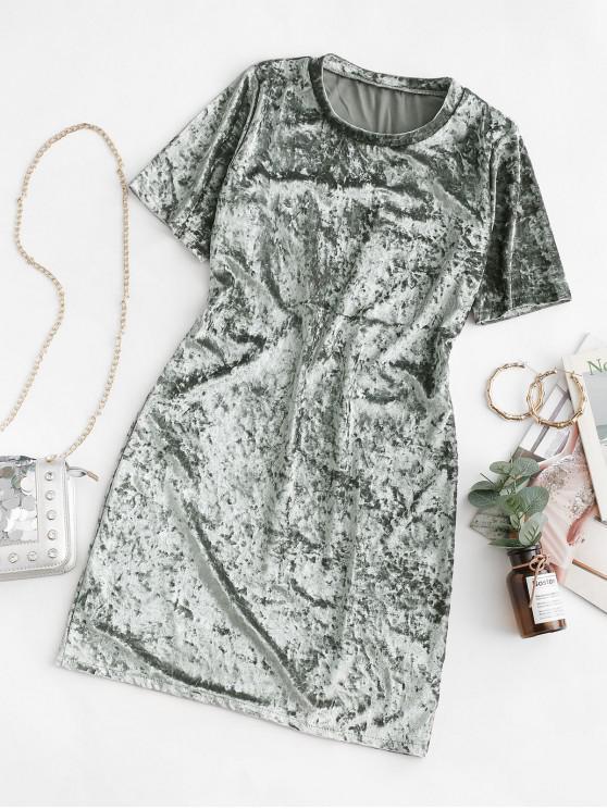 天鵝絨短袖T卹連衣裙 - 銀 M