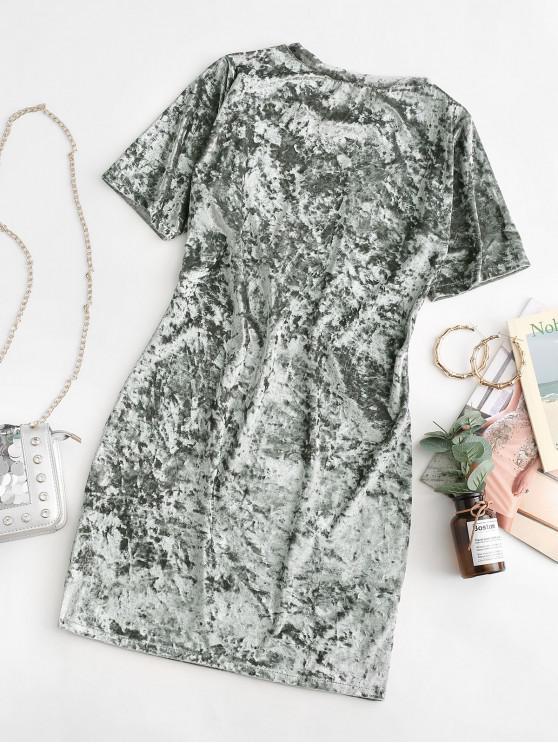 Velvet Short Sleeve Tee Dress - Silver S   ZAFUL