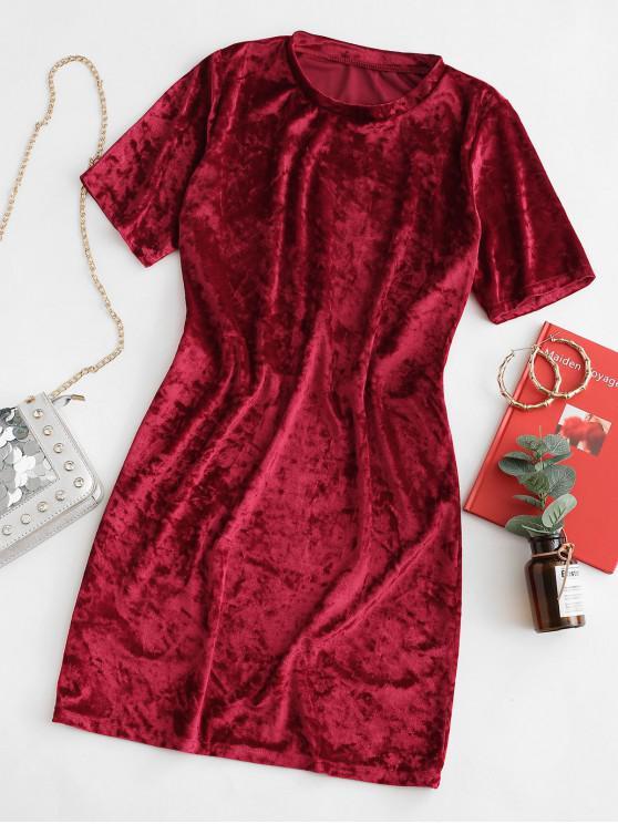 天鵝絨短袖T卹連衣裙 - 紅 S