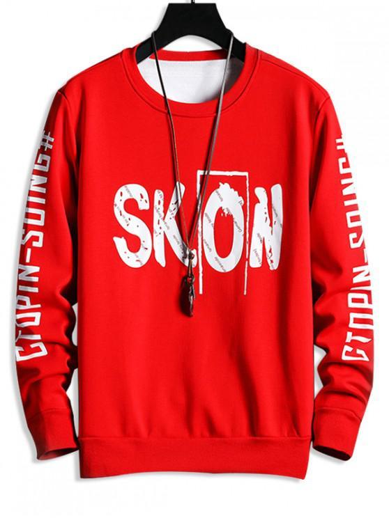 shops Crew Neck Letter Print Fleece Sweatshirt - RED S