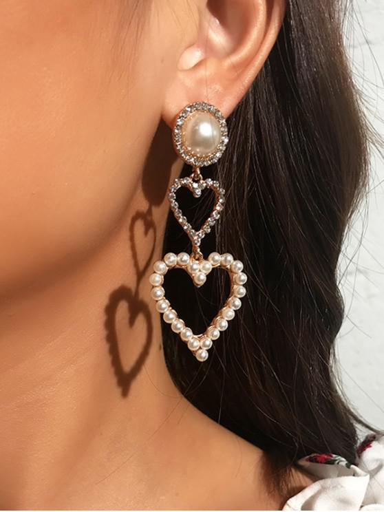 Pendientes de Gota de Corazón de Diamantes de Imitación de Perlas - Blanco