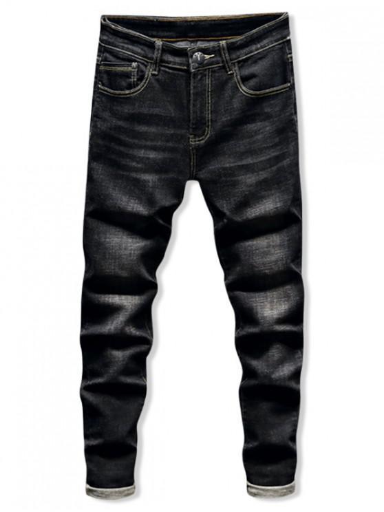 new Dark Wash Zipper Fly Ripped Jeans - BLACK 32