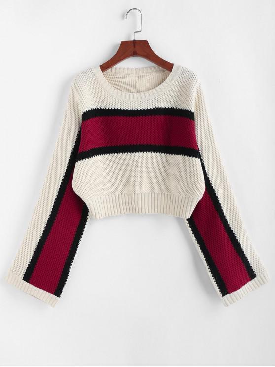 online ZAFUL Color Blocking Raglan Sleeve Crop Sweater - WARM WHITE M