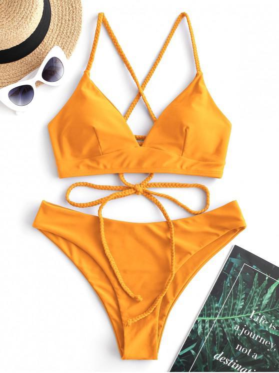 womens ZAFUL Braided Lace Up Plain Bikini Swimsuit - BRIGHT YELLOW S