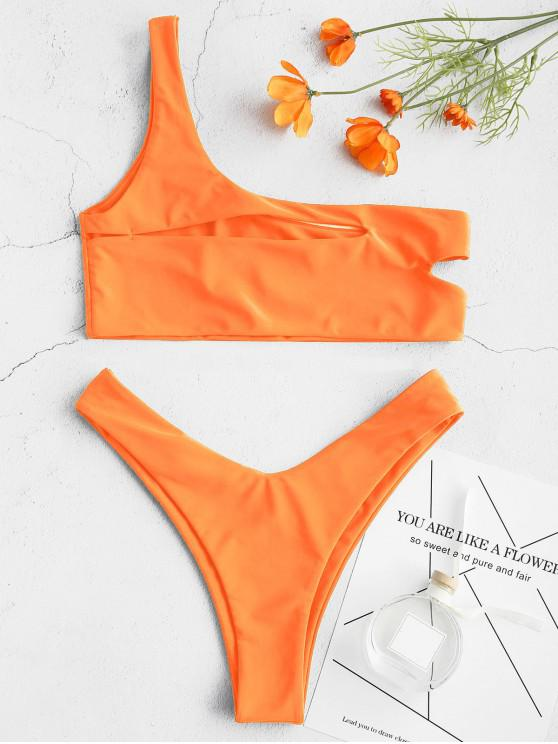 affordable ZAFUL One Shoulder Cut Out Bralette Bikini Set - ORANGE M