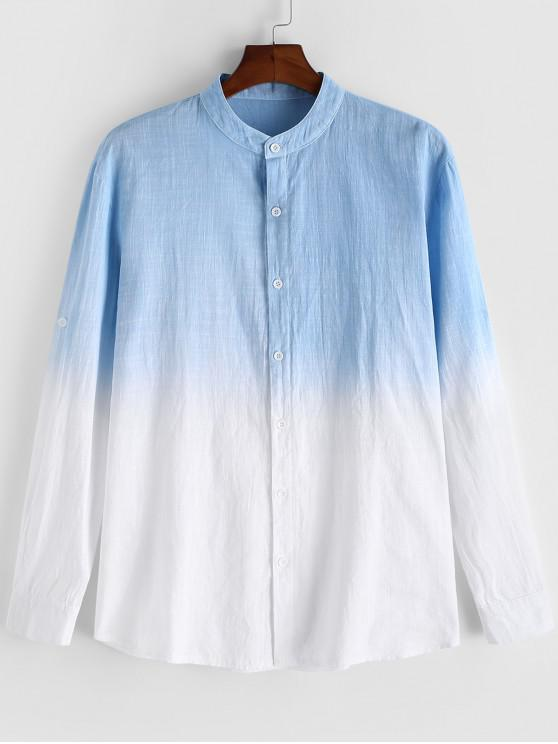unique Ombre Printed Long Sleeves Casual Shirt - LIGHT SKY BLUE 2XL