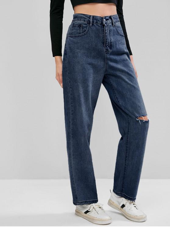Calça Jeans Rasgados de Mãe - Azul Escuro M