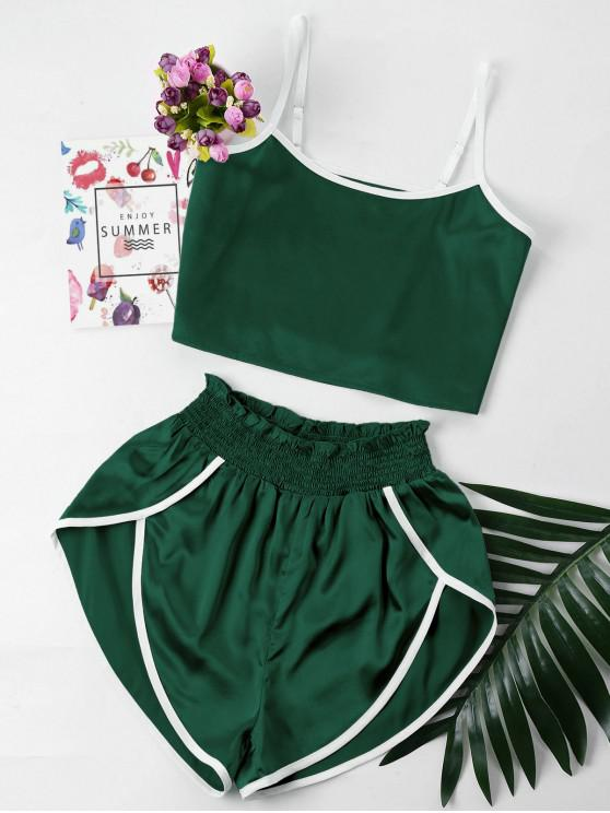womens Contrast Trim Cami and Shorts Set - DARK GREEN XL
