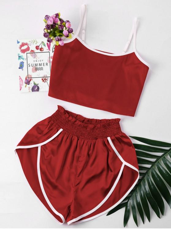 lady Contrast Trim Cami and Shorts Set - RED WINE XL