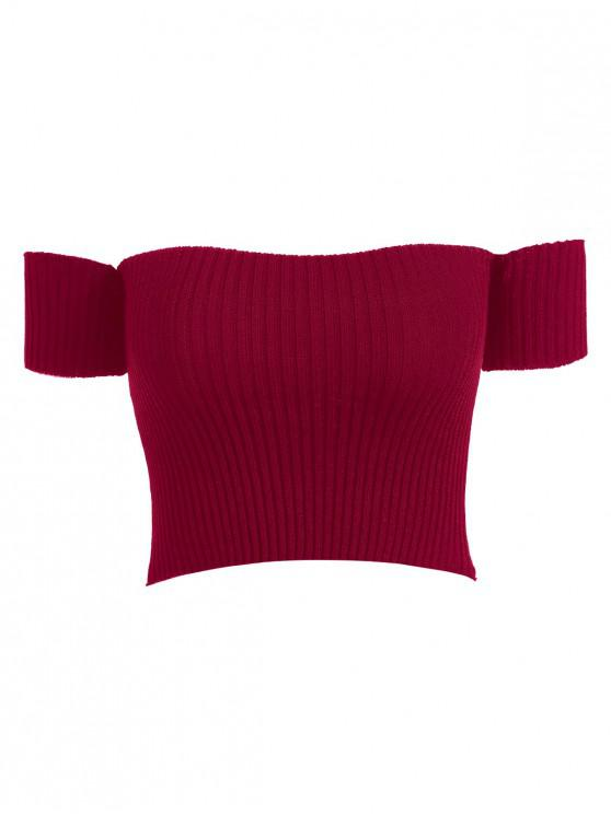 latest Off Shoulder Ribbed Tee - RED WINE ONE SIZE