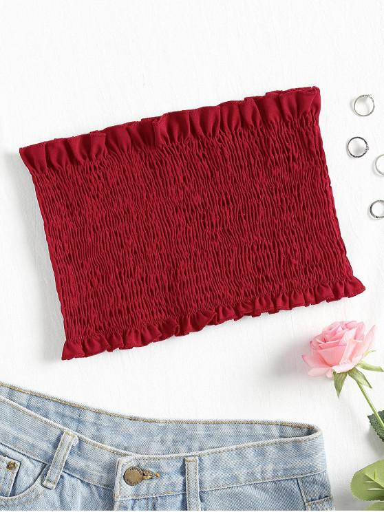 buy Smocked Bandeau Tube Top - CHERRY RED L