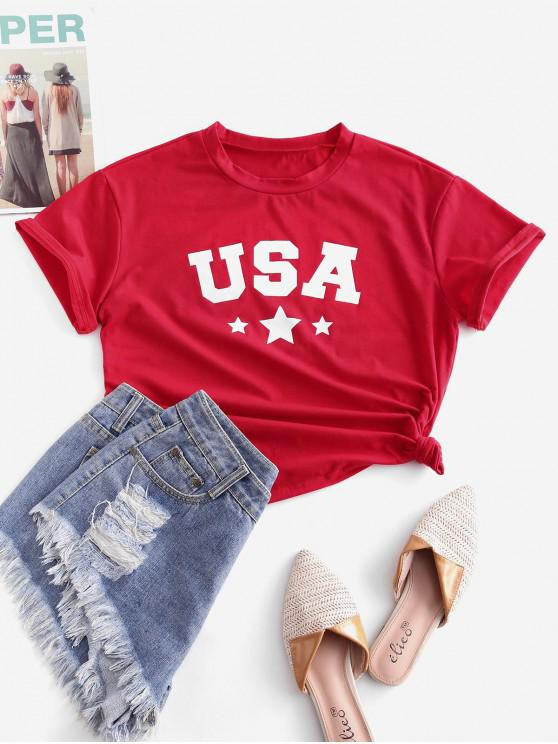 ZAFUL Stern Amerikanische Flagge Grafik Grundlegendes T-Shirt - Lava Rot M