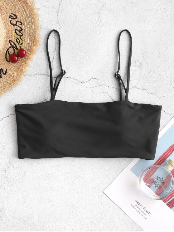 fancy ZAFUL Boning Side Padded Cami Bikini Top - BLACK S