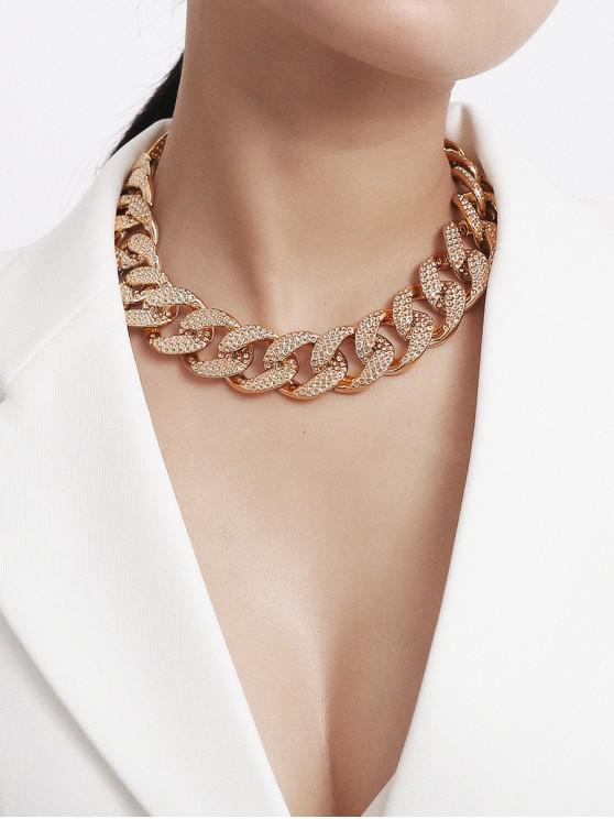 Collar de Clavícula de Cadenas de Diamantes de Imitación Completa - Oro