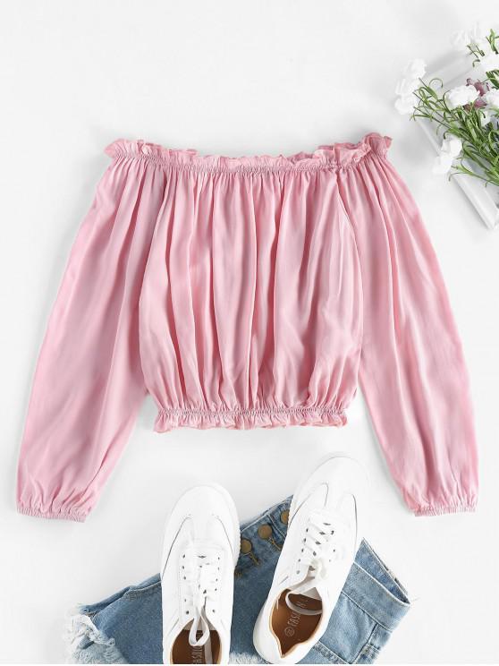 Jabou Off Umăr Decupată Bluză - Trandafir roz O marime