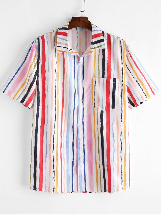 shops ZAFUL Striped Print Pocket Button Casual Shirt - MULTI 2XL