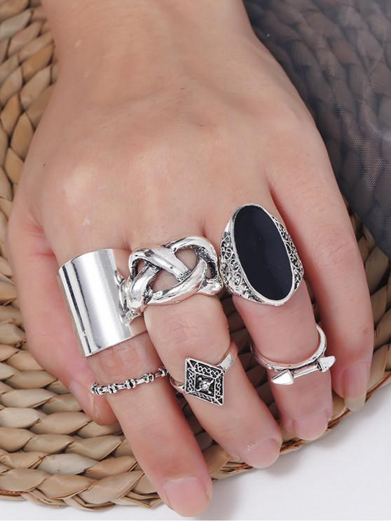 new Vintage Alloy Geometric Rings - SILVER