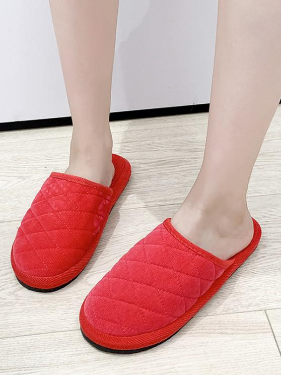 outfit Plain Closed Toe Quilted Indoor Shoes - WATERMELON PINK EU 35