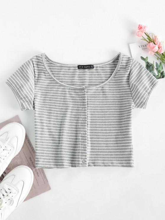 shops Striped Ribbed Crop Top - GRAY M