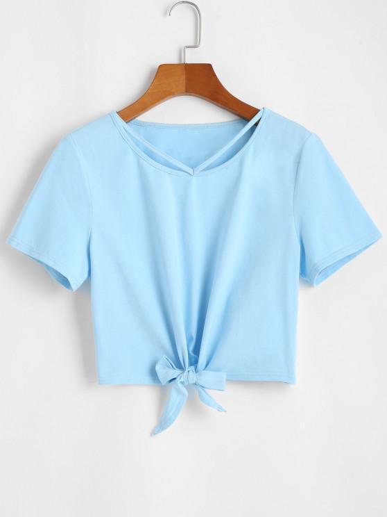 shop ZAFUL Solid Tie Hem Cropped Tee - SEA BLUE M
