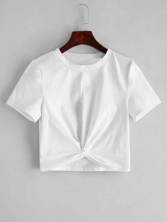 outfits ZAFUL Solid Twist Hem Cropped Tee - WHITE L