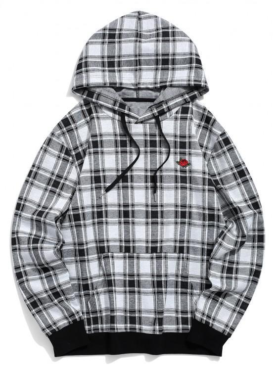 Plaid Pattern Floral Embroidered Pocket Hoodie - أسود S