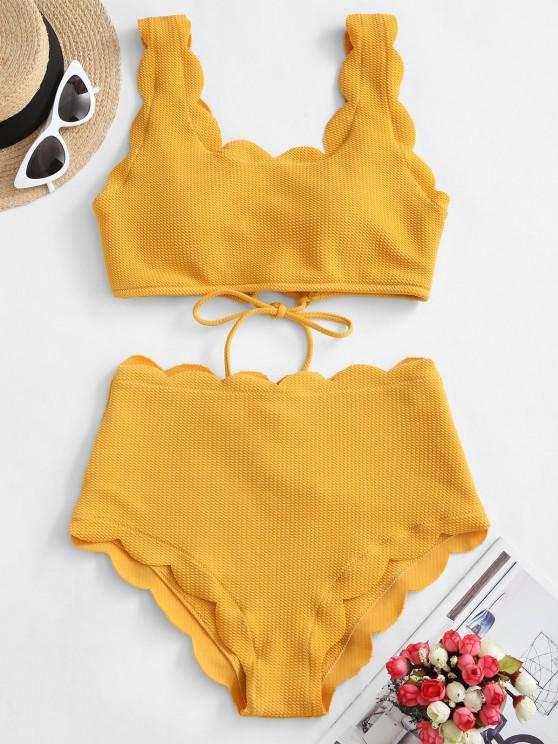 affordable ZAFUL Scalloped Textured High Waisted Bikini Set - GOLDEN BROWN XL