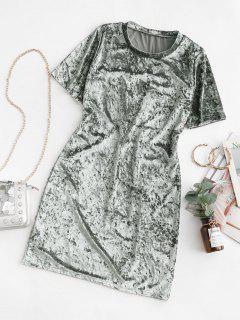 Velvet Short Sleeve Tee Dress - Silver S