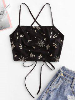 Embroidered Mesh Overlay Crisscross Cami Top - Black S