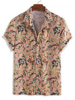 Floral Allover Print Short Sleeve Button Shirt - Multi-a S