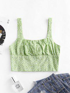 Smocked Back Ditsy Floral Cropped Tank Top - Green S
