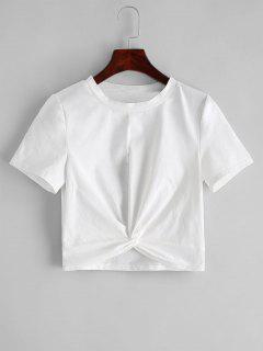 ZAFUL Solid Twist Hem Cropped Tee - White L