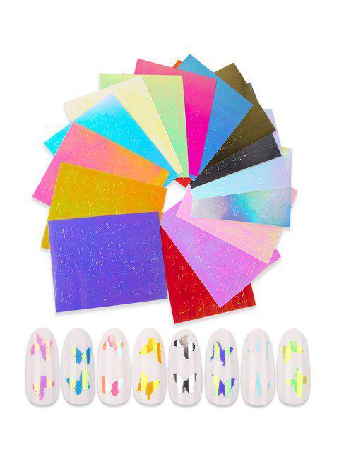 Наклейки Для Ногтей С Рисунком Бабочка И Макси 16Шт - Многоцветный-A  Mobile