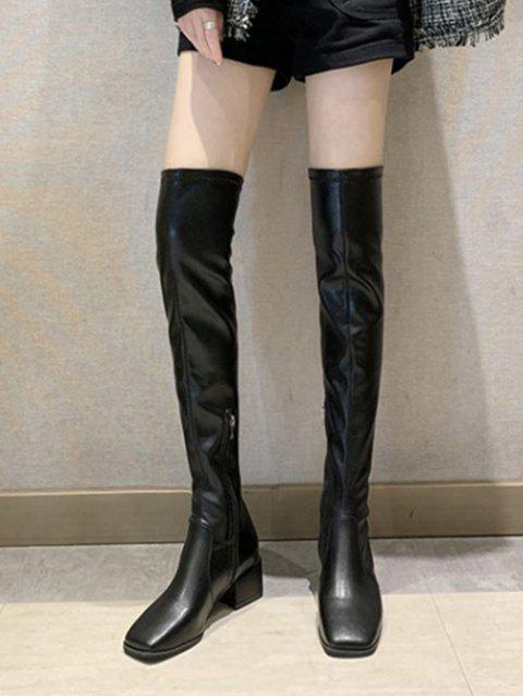womens Plain Square Toe Leather Thigh High Boots - BLACK EU 35 Mobile